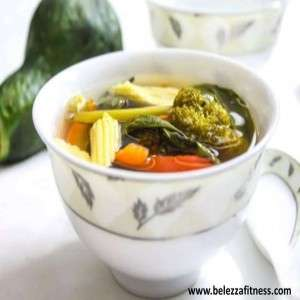 Vegetable clear soup with lemon grass